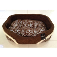 Silver Fur Brown Dog Bed - Small