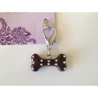 Dog Charm Brown Bone Stud